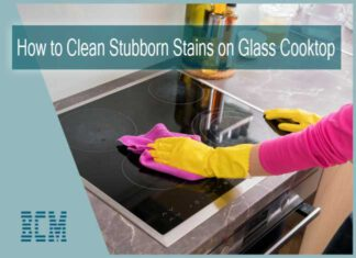 How do you remove stubborn stains from a glass top stove?