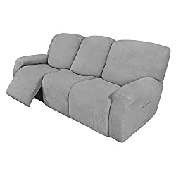 Best 8 Pieces Recliner Sofa Stretch Slipcover for 3 Seater Recliner